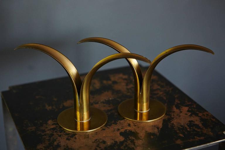 """Liljan"" Brass Candleholders by Ivar Ålenius Björk for Ystad Metal Sweden 6"