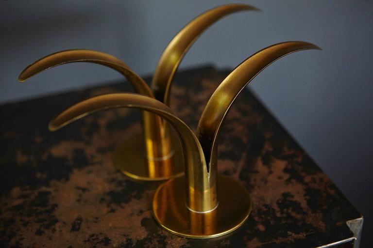 """Liljan"" Brass Candleholders by Ivar Ålenius Björk for Ystad Metal Sweden For Sale 1"