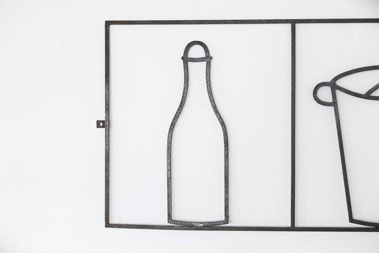 Mid-Century Modern Minimalist Graphic Iron Wall Sculpture with Bar Elements, France, circa 1940s For Sale