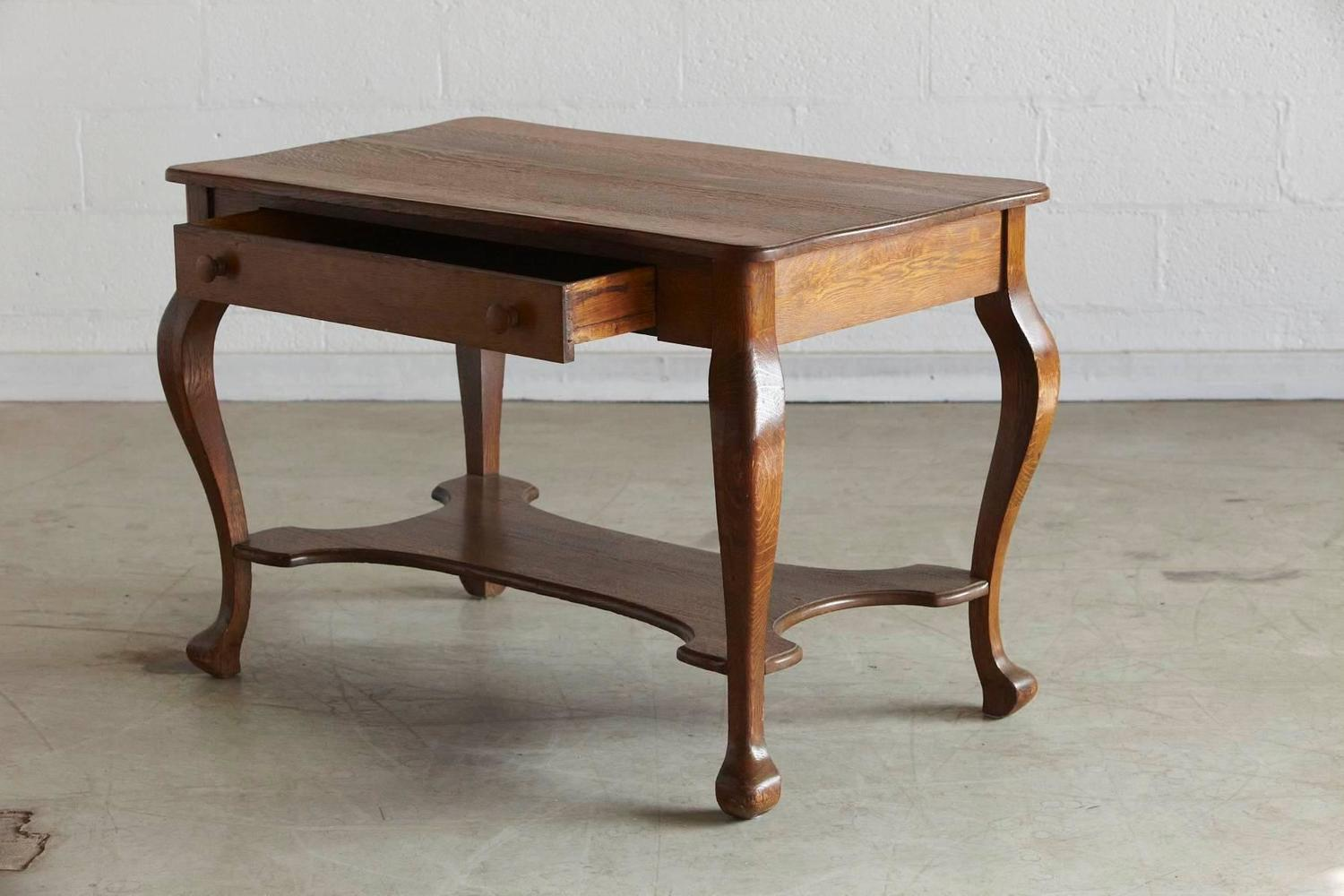 Wooden Library Furniture ~ Solid antique oak quartersawn larkin library table with