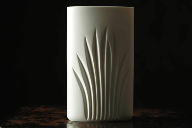 White Matte Porcelain Vase by C J Riedel - Special Edition 100 Years Rosenthal In Excellent Condition For Sale In Westport, CT