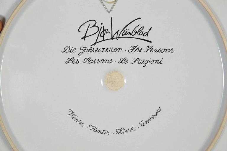 Large Rosenthal Porcelain Plate by Bjørn Wiinblad, The Seasons Series 'Winter' 4
