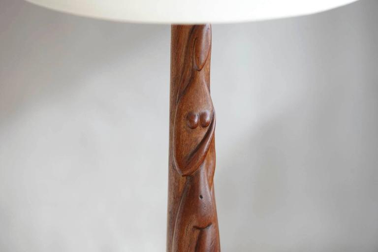 Beautiful hand-carved female nude wood sculpture table lamp with tinted black wood base, by Nicholas (Nimo) Mocharniuk (Russian/American 1917-1993), signed on back NIMO. The sculptured stem is in excellent condition, very nice patina to the
