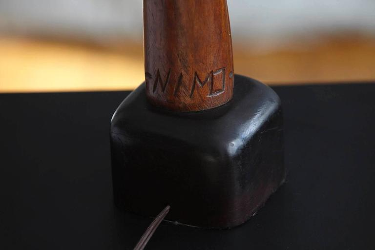 Hand-Carved Female Nude Wood Sculpture Table Lamp by Nicholas Mocharniuk In Excellent Condition For Sale In Weston, CT