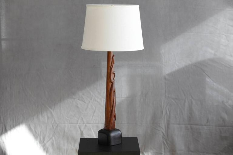 Mid-20th Century Hand-Carved Female Nude Wood Sculpture Table Lamp by Nicholas Mocharniuk For Sale