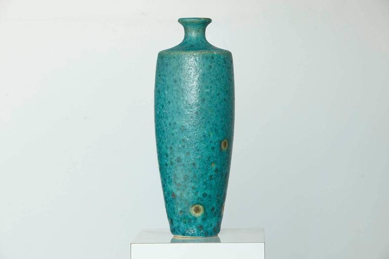 Glazed Large Italian Modern Turquoise Blue Ceramic Vase in the Style of Guido Gambone For Sale