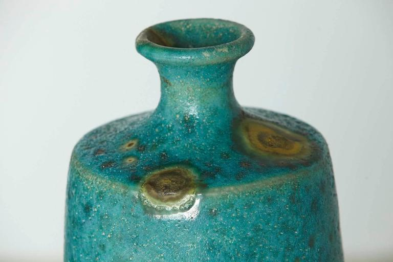 Large Italian Modern Turquoise Blue Ceramic Vase in the Style of Guido Gambone In Good Condition For Sale In Weston, CT