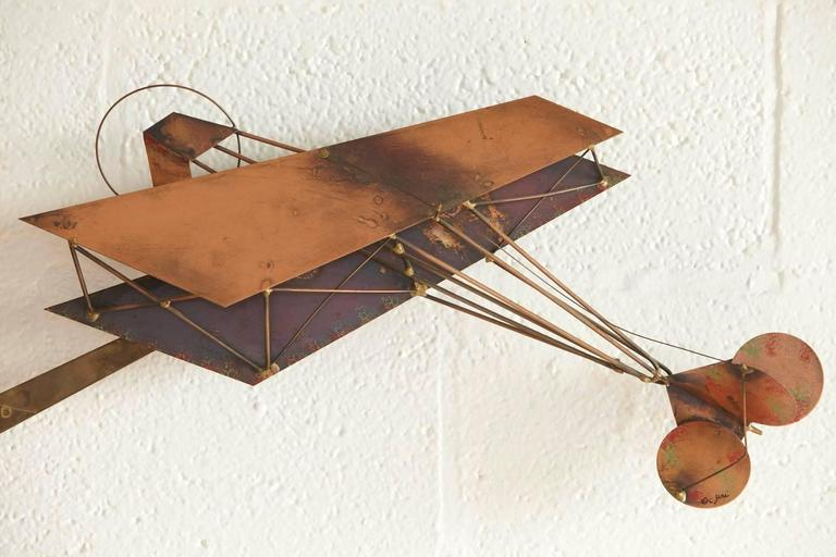 Exceptional Signed Curtis Jere Brass Wall Sculpture of Airplanes and Airfield 2
