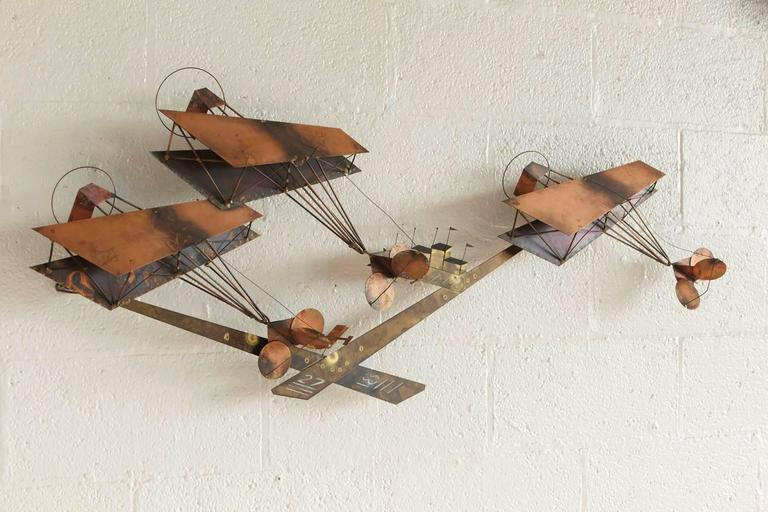 Exceptional Signed Curtis Jere Brass Wall Sculpture of Airplanes and Airfield 5