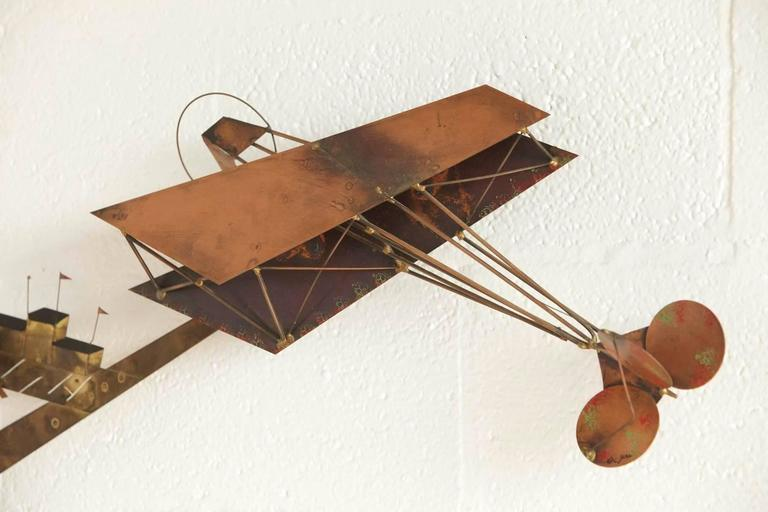 Exceptional Signed Curtis Jere Brass Wall Sculpture of Airplanes and Airfield 6