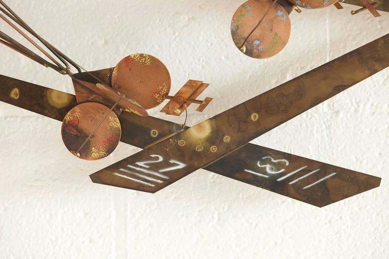 Exceptional Signed Curtis Jere Brass Wall Sculpture of Airplanes and Airfield 9