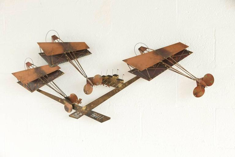 Exceptional Signed Curtis Jere Brass Wall Sculpture of Airplanes and Airfield 10