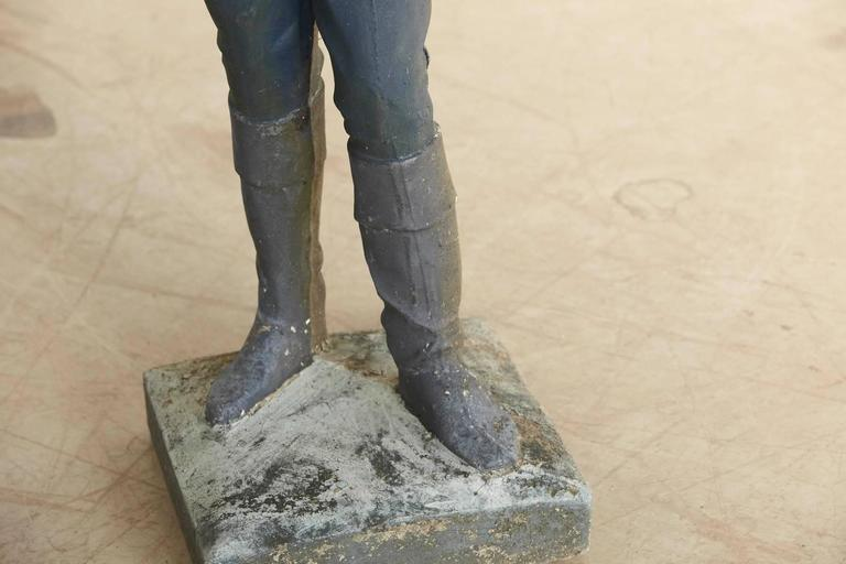 1910 Conors Mack Co. Concrete and Detailed Lawn Jockey with Distressed Patina For Sale 4