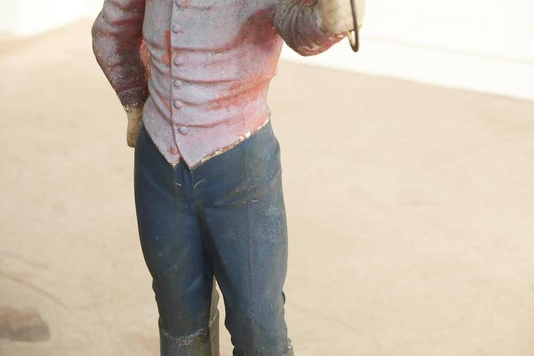 1910 Conors Mack Co. Concrete and Detailed Lawn Jockey with Distressed Patina For Sale 3