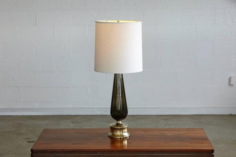 Teardrop Like Hand Blown Glass Table Lamp on Brass Base 7