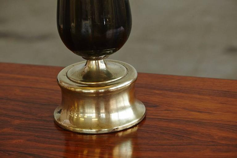 Teardrop Like Hand Blown Glass Table Lamp on Brass Base 6