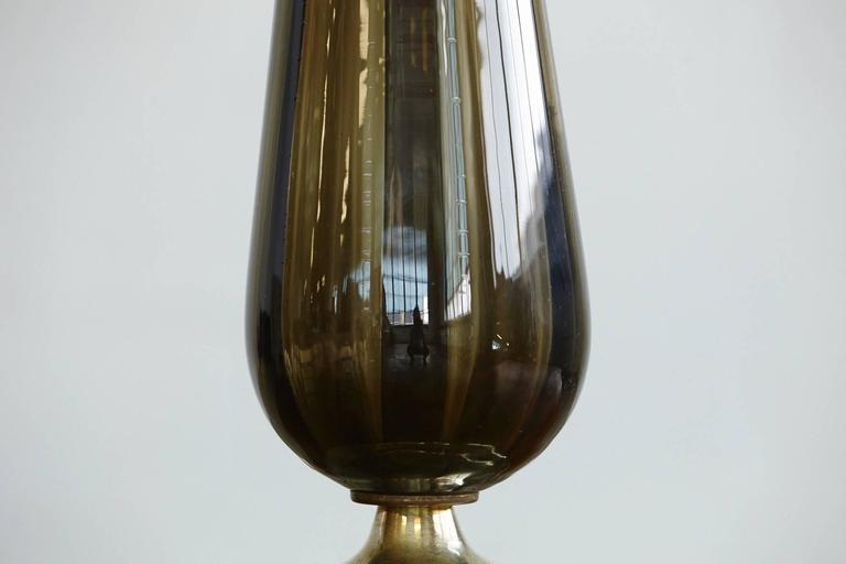 Teardrop Like Hand Blown Glass Table Lamp on Brass Base 5