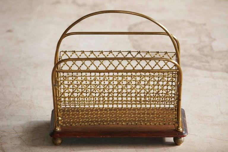 19th Century Aesthetic Movement Woven Brass Canterbury or