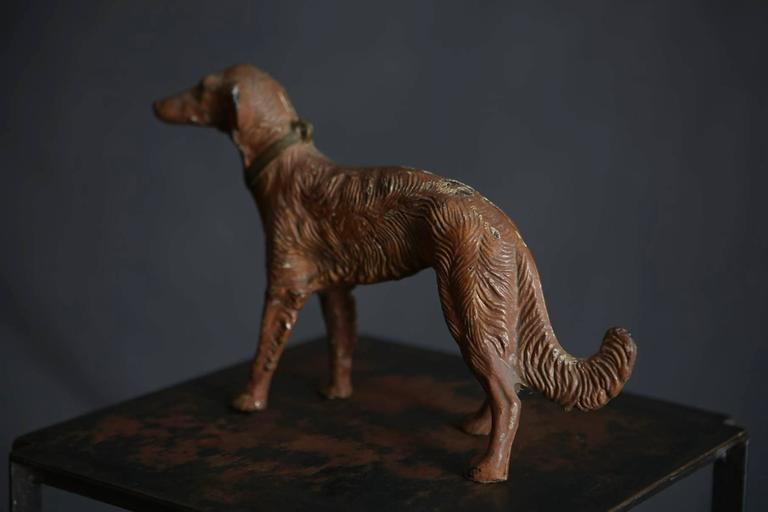 American Art Nouveau Cast Iron Decorative Object or Doorstop Depicting a Hunting Dog For Sale