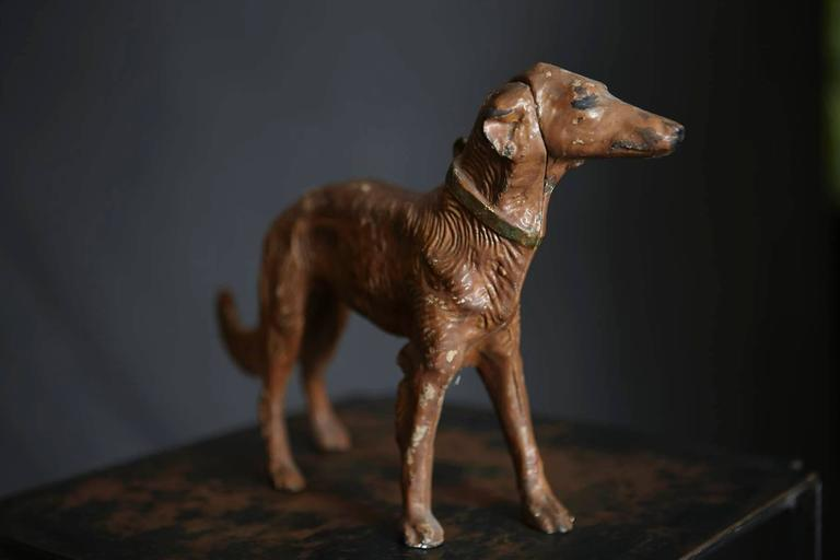 Art Nouveau Cast Iron Decorative Object or Doorstop Depicting a Hunting Dog In Good Condition For Sale In Westport, CT