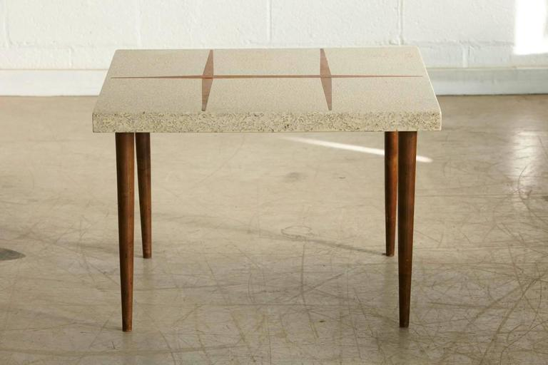 Mid-Century Modern Rectangular Walnut Side Table with Walnut Inlaid Terrazzo Top For Sale