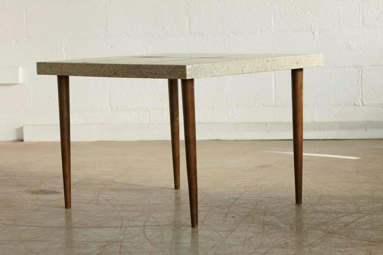 Rectangular Walnut Side Table with Walnut Inlaid Terrazzo Top In Good Condition For Sale In Westport, CT