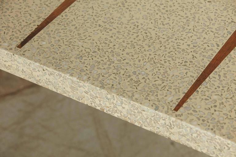Rectangular Walnut Side Table with Walnut Inlaid Terrazzo Top 7