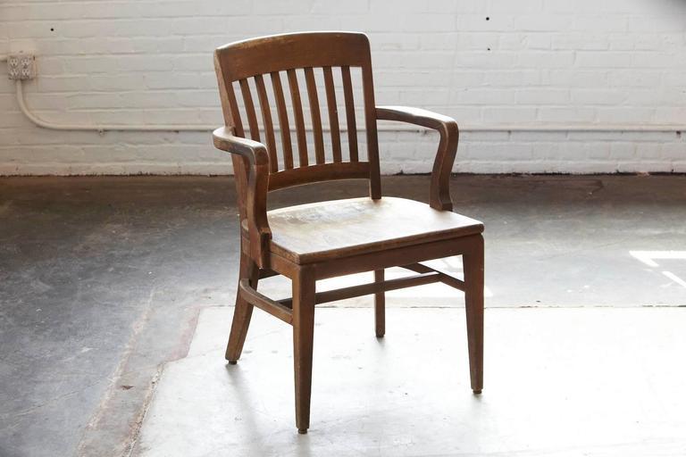 1920s Solid Oak fice Armchair by W H Gunlocke Chair Co