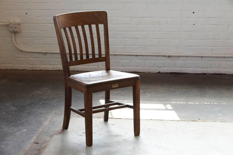 1920s Solid Oak Office Chair by WH Gunlocke Chair Co For Sale at