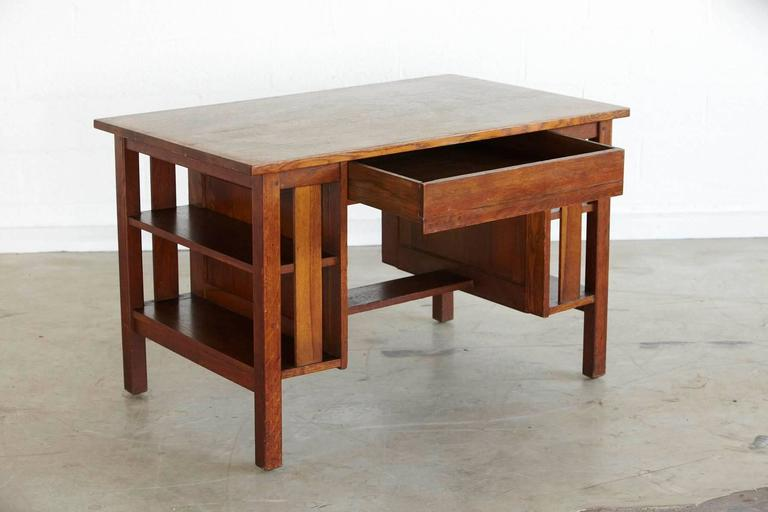 Arts And Crafts Mission Style Oak Library Table 2 From The