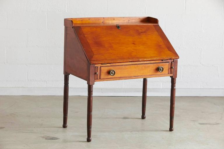 Antique pine drop-leaf secretary or desk. The secretary features plenty of  compartments and - Antique Pine Drop-Leaf Secretary Or Desk At 1stdibs