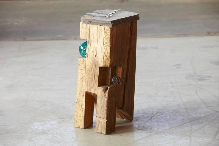 Organic Modern Filz - Stool by Hanni Dietrich - Carved Oak with Felt and Glass For Sale
