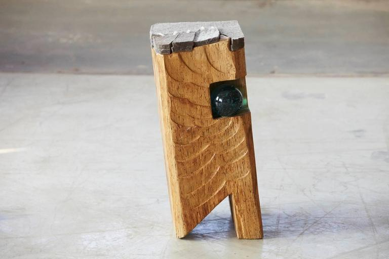 Contemporary Filz - Stool by Hanni Dietrich - Carved Oak with Felt and Glass For Sale