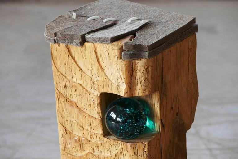 Filz - Stool by Hanni Dietrich - Carved Oak with Felt and Glass For Sale 1