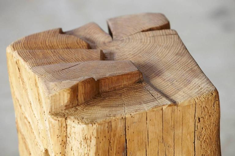 Filz - Stool by Hanni Dietrich - Carved Oak with Felt and Glass For Sale 2