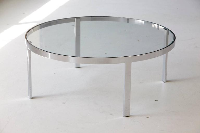 Milo Baughman Round Chrome and Glass Coffee Table 2