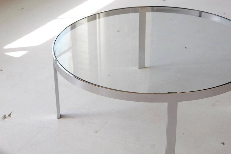 Milo Baughman Round Chrome and Glass Coffee Table 3