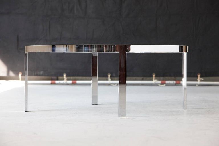 Milo Baughman Round Chrome and Glass Coffee Table 5