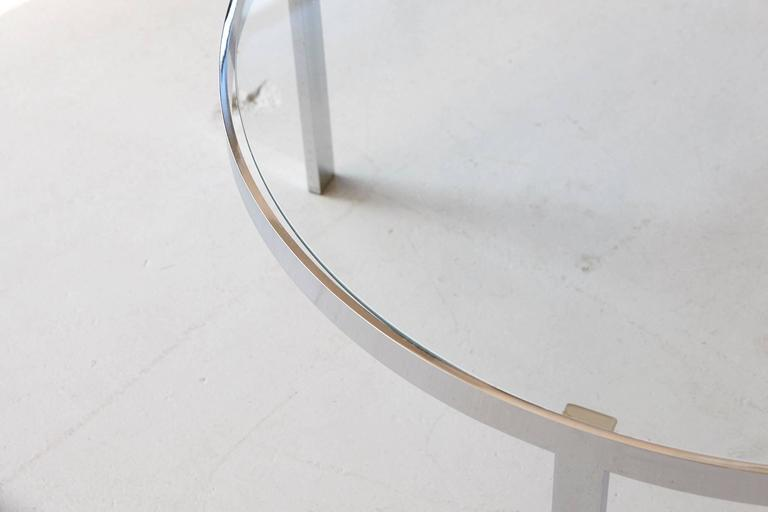 Milo Baughman Round Chrome and Glass Coffee Table 7