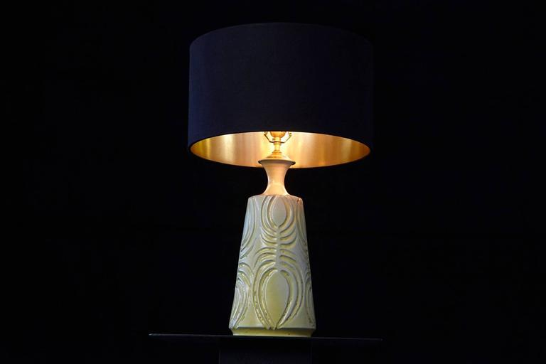 Yellow Ceramic Lamp with Decorative Elements by Robert Maxwell and New Shade In Good Condition For Sale In Weston, CT
