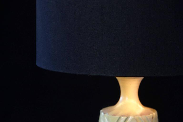 Late 20th Century Yellow Ceramic Lamp with Decorative Elements by Robert Maxwell and New Shade For Sale