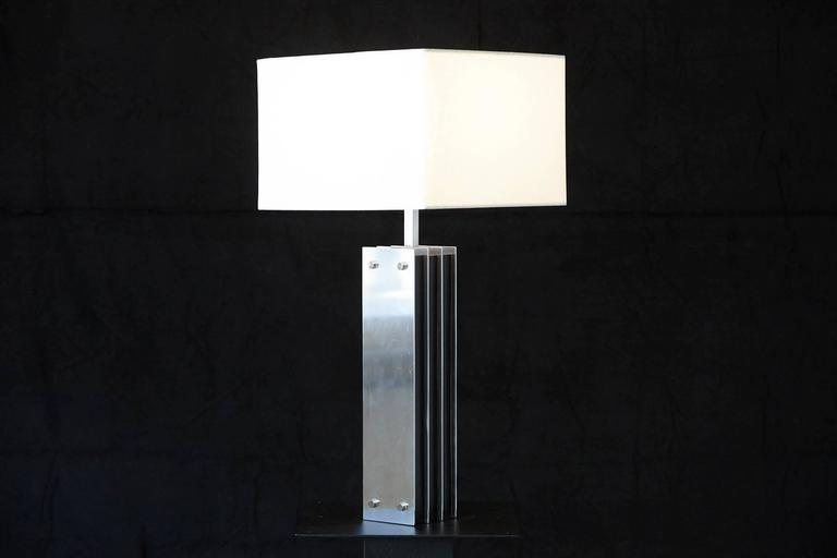 American Polished Aluminum and Black Wood Tall Table Lamp For Sale