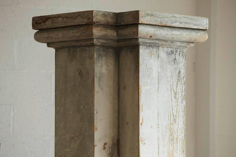 Distressed Tall Wooden Architectural Column with Patina In Distressed Condition For Sale In Weston, CT