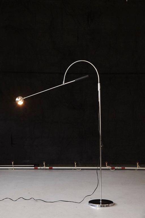 Mid-20th Century Adjustable Chrome Floor Lamp 'Orbiter' by Robert Sonneman For Sale