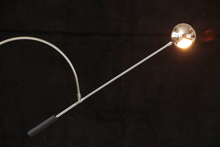 Adjustable Chrome Floor Lamp 'Orbiter' by Robert Sonneman For Sale 2