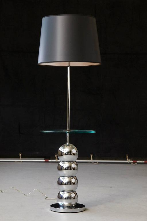 Mid-20th Century George Kovacs Stacked Chrome Ball Floor Lamp with Integrated Glass Table For Sale