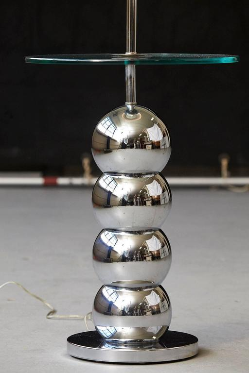 George Kovacs Stacked Chrome Ball Floor Lamp with Integrated Glass Table In Good Condition For Sale In Weston, CT