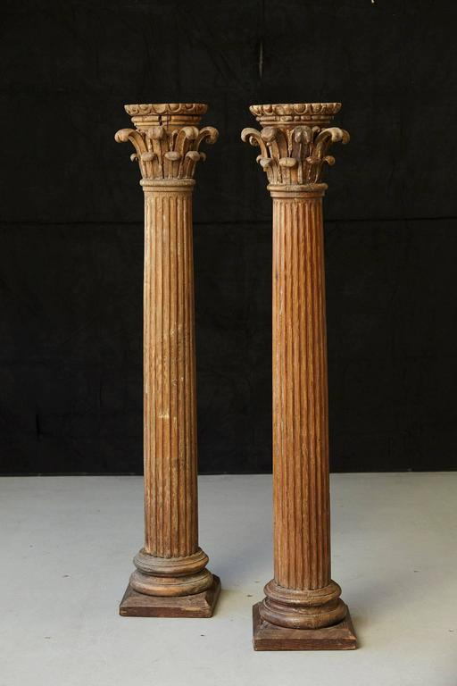 Early 20th Century Pair Of Hand Carved Architectural