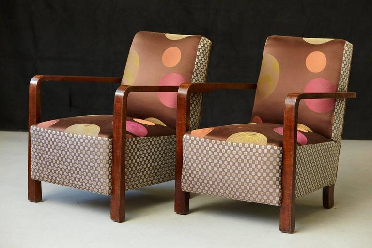 Argentine Pair of Argentinian Art Deco Lounge Chairs, Buenos Aires, ca 1930s For Sale