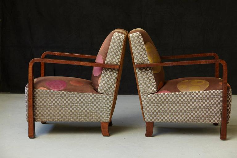 Pair of Argentinian Art Deco Lounge Chairs, Buenos Aires, ca 1930s In Good Condition For Sale In Westport, CT